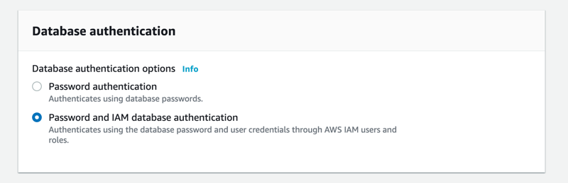 Enabling IAM Authentication on Amazon RDS DB instance during creation