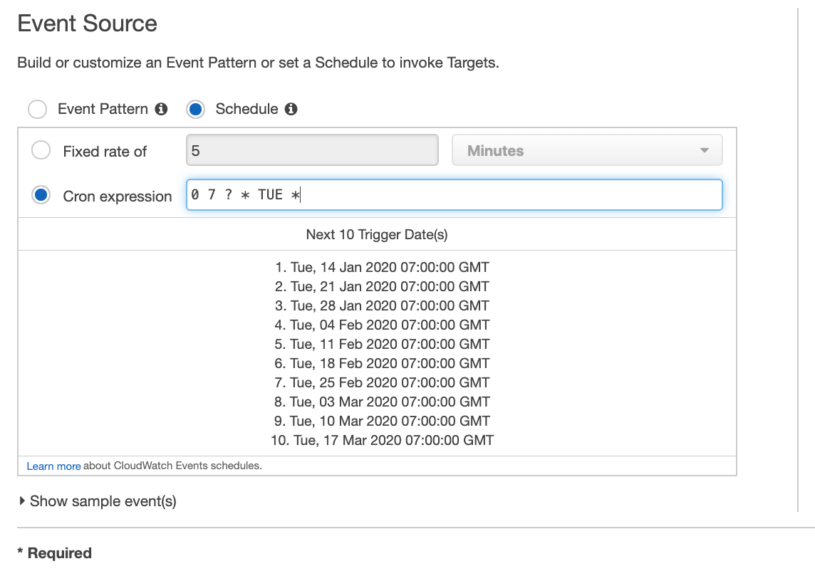 Scheduled Cron Expression on Amazon CloudWatch Events
