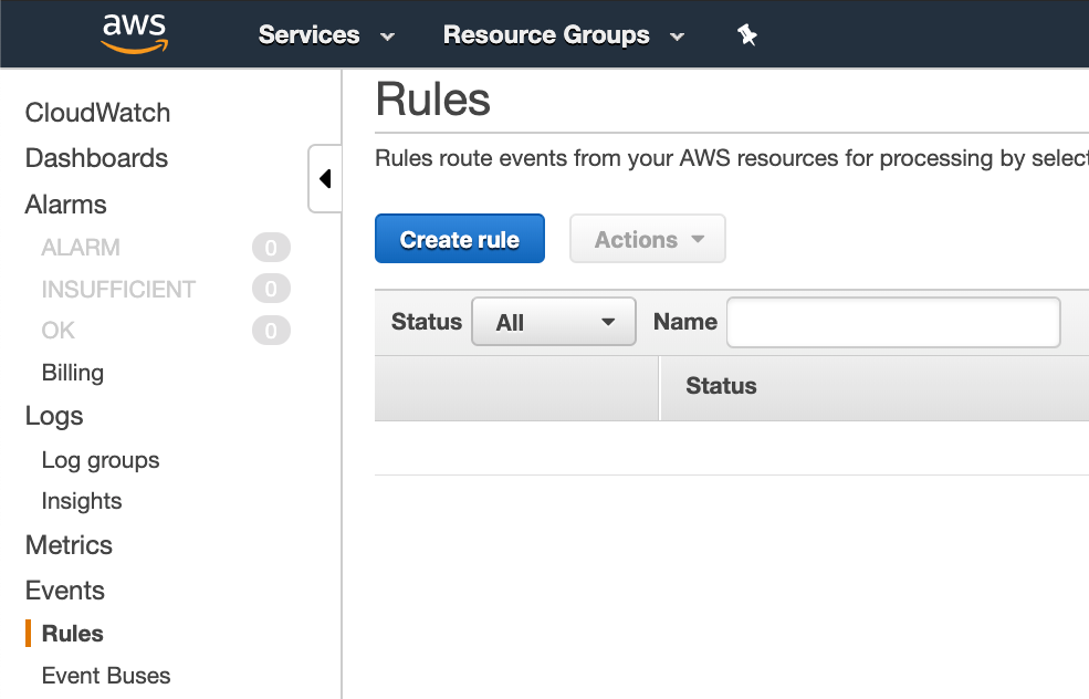 Create rule button on Amazon CloudWatch Events