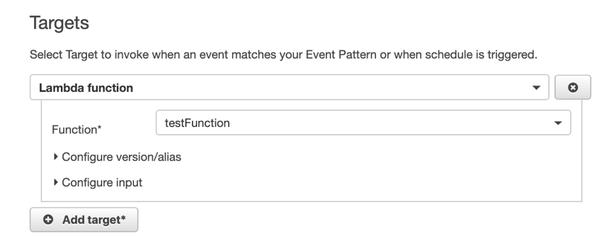 Lambda function as CloudWatch scheduled event target