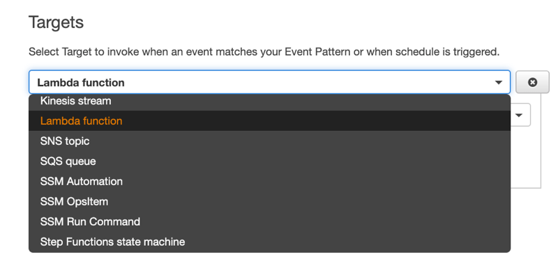 Target options on Amazon CloudWatch event creation