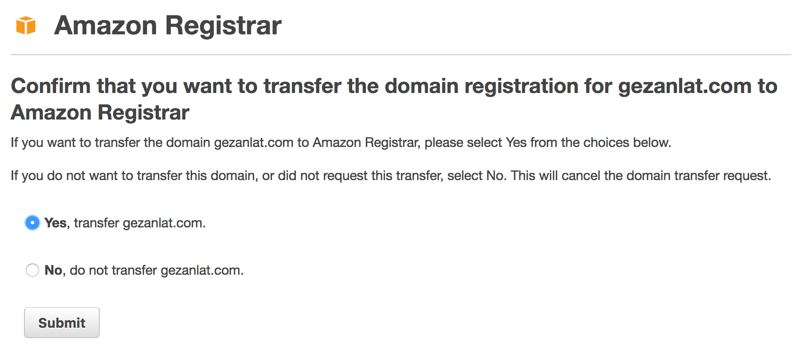 Approve Domain Transfer to Amazon Route 53