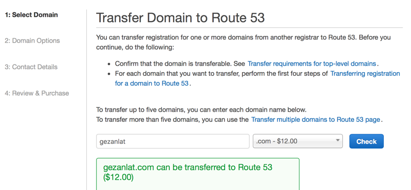 Check domain transfer on Amazon Route 53