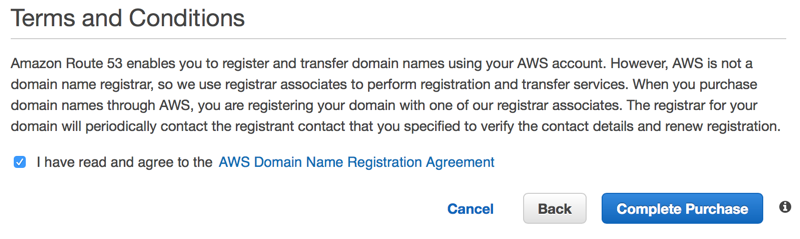 Completing Domain Transfer Purchase on Amazon Route 53