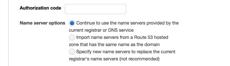 Entering Authorization Code for Domain Transfer on Amazon Route 53