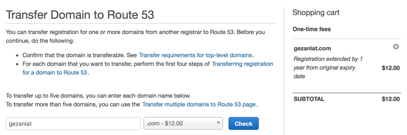 Domain Transfer Cart on Amazon Route 53