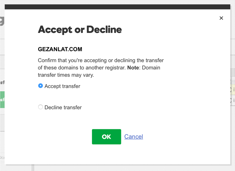 Open Accept-Decline Pending Transfers Out on GoDaddy
