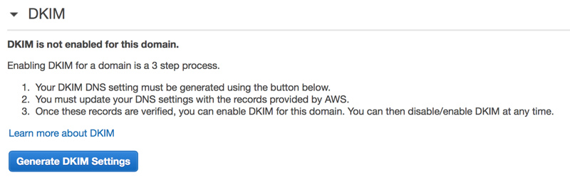 Generate DKIM on Amazon SES